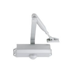 Selectable power size 2-4 door closer, rack & pinion with link arm